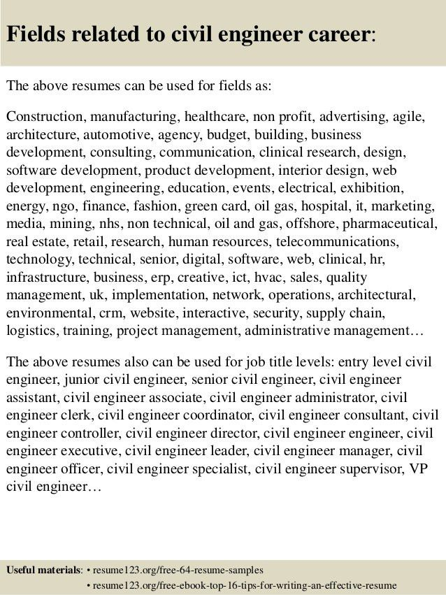 Top 8 civil engineer resume samples
