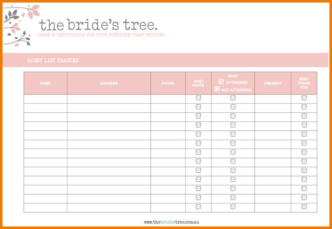 4 printable wedding guest list template | Expense Report