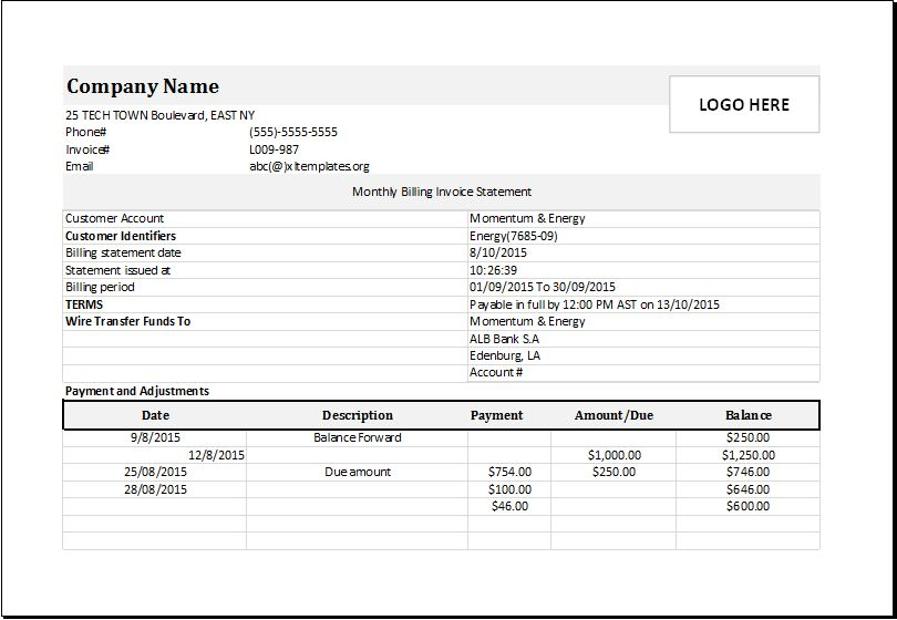 Monthly billing invoice statement DOWNLOAD at http://www ...