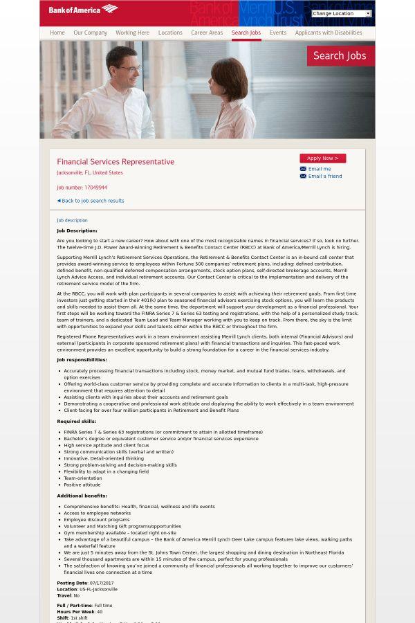 Financial Services Representative job at Bank of America in ...