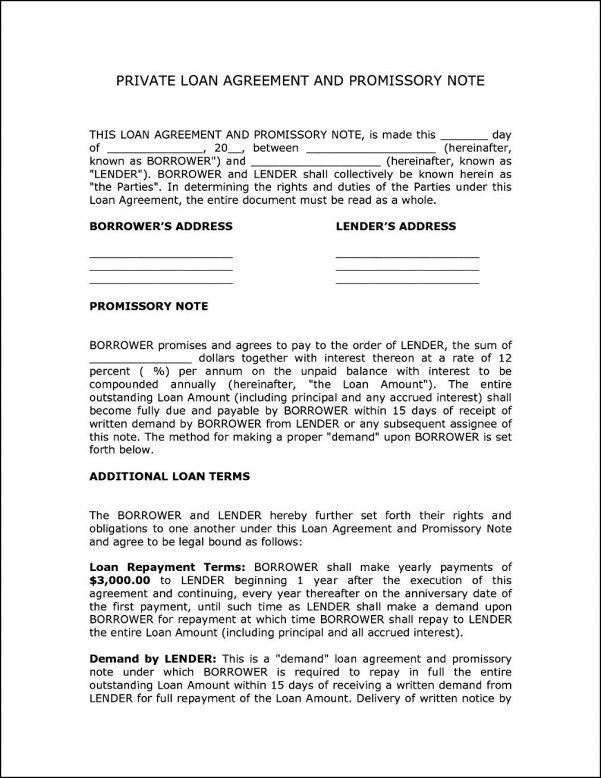 Create a loan agreement legal templates – Loan Agreement Format