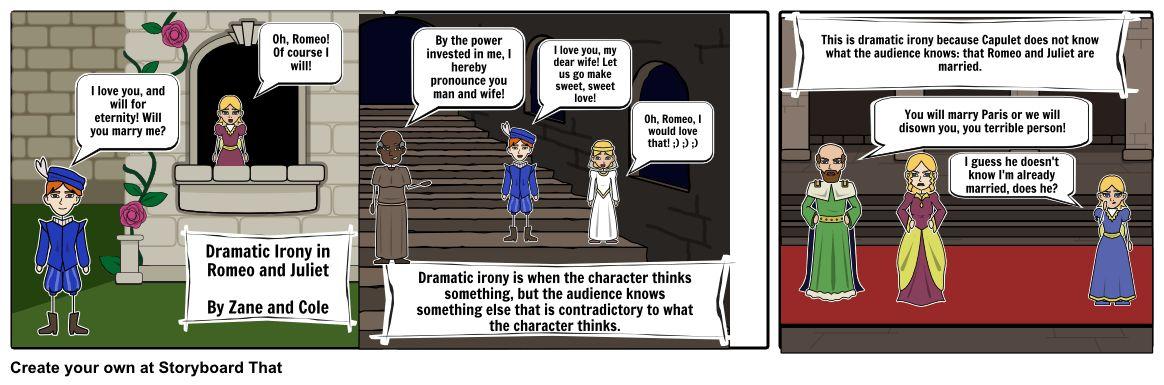 Romeo and Juliet Dramatic Irony Example Storyboard