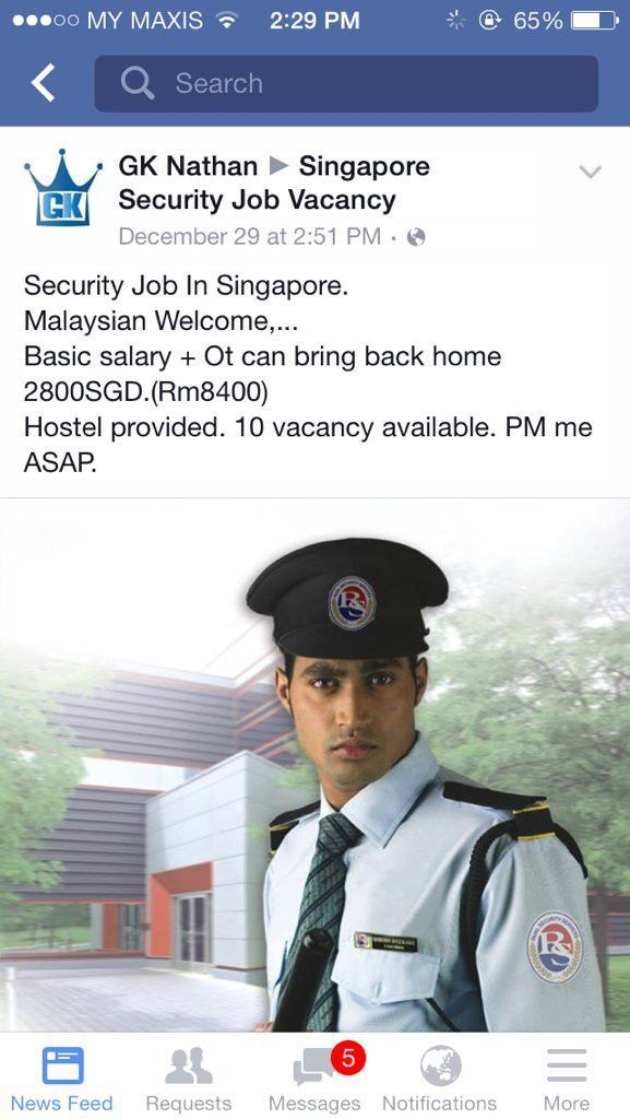 """ling ling on Twitter: """"Security guard in Singapore, RM8k salary ..."""