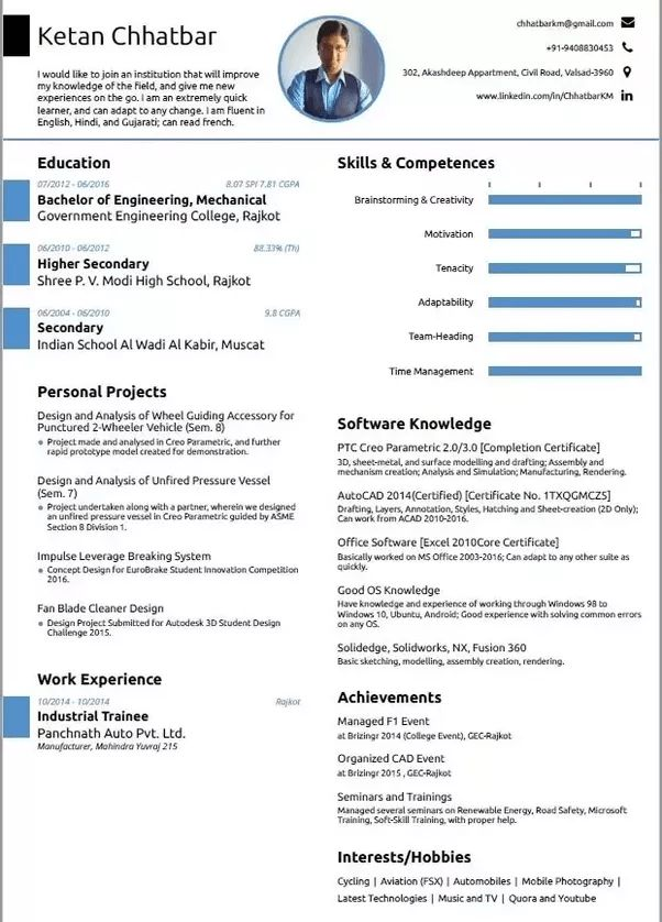 What is the best resume format for a mechanical engineering ...