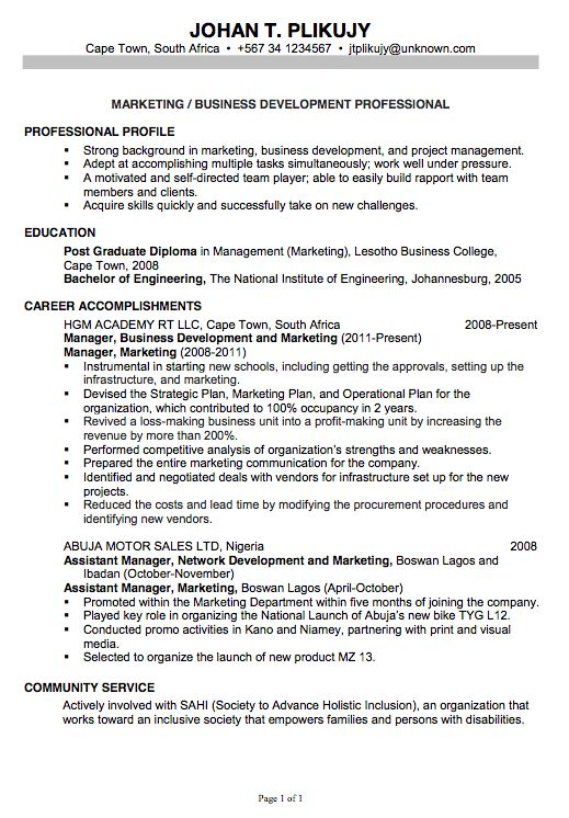 free marketing resume template. sample curriculum vitae for ...