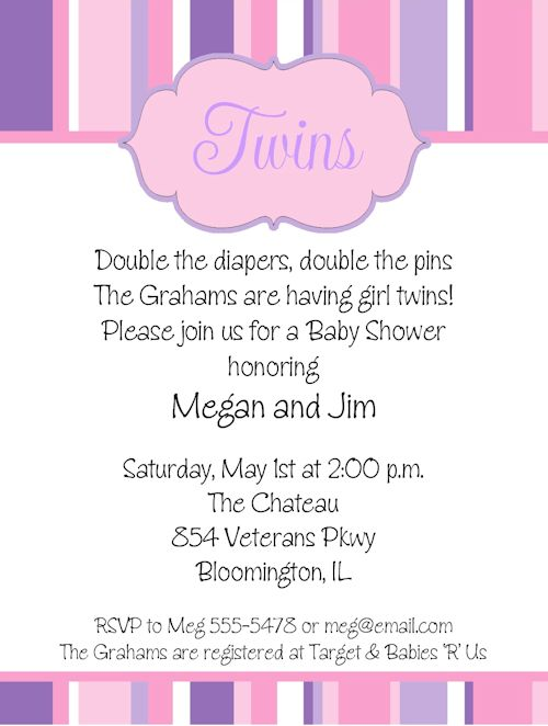Twin Girl Baby Shower Invitations | THERUNTIME.COM