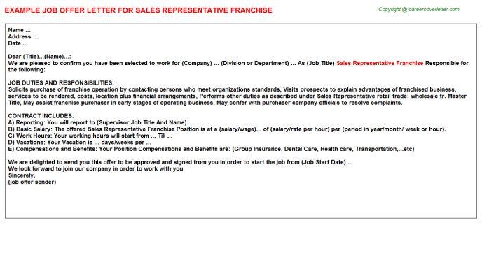 Sales Representative Franchise Offer Letter