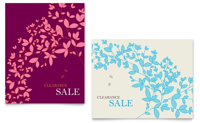 Spring Leaves Sale Poster Template - Word & Publisher