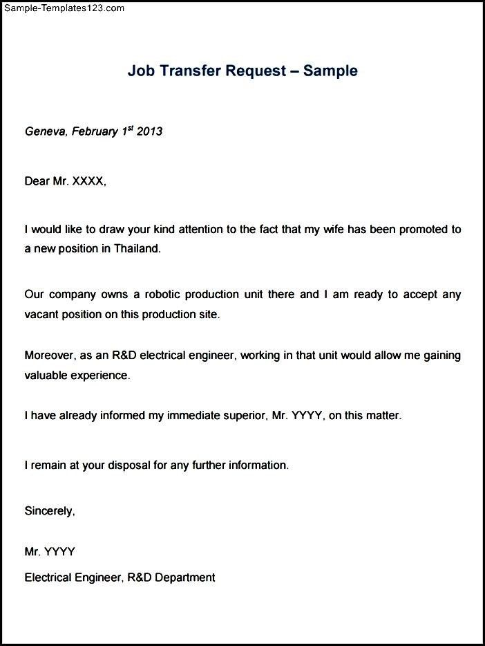 Transfer Request Letter. Job Transfer Request Letter Example ...