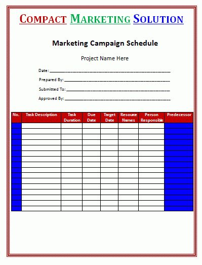 Marketing Campaign Schedule Template Is A Wonderful And Brilliant .
