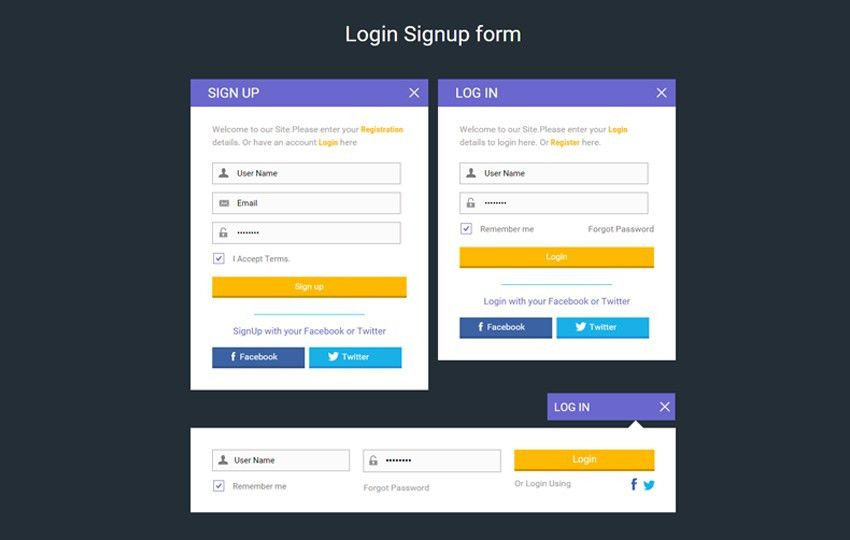 Login Signup form Widget Flat Responsive Widget Template
