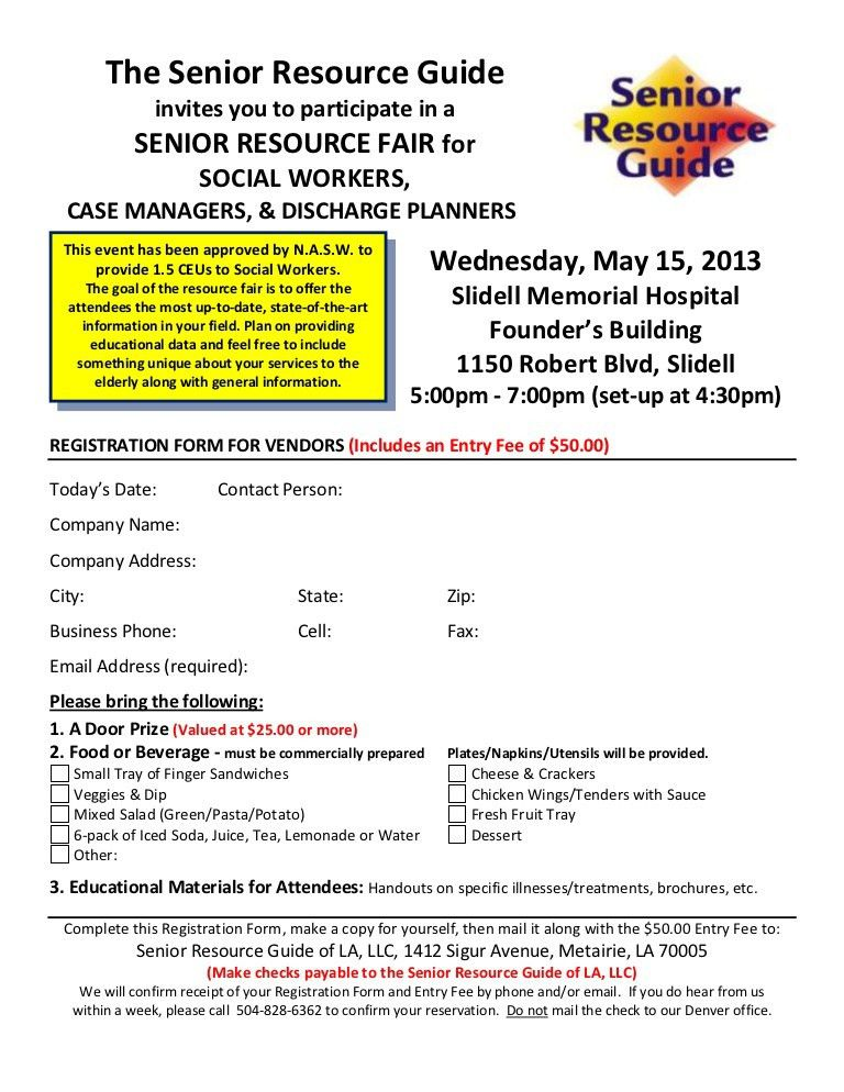 Vendor registration form for senior resource fair smh - protected