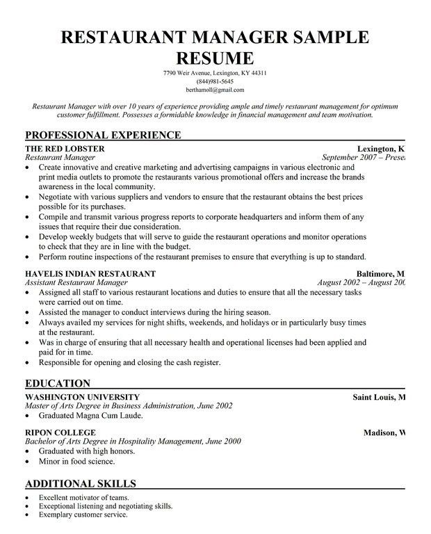 Download Kitchen Manager Resume | haadyaooverbayresort.com