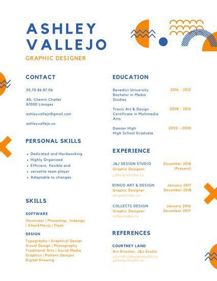 Blue and Orange Abstract Shapes Colorful Resume - Templates by Canva