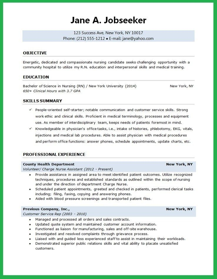 Resume For New Nurse Graduate. new registered nurse resume sample ...