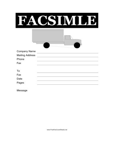 Truck Fax Cover Sheet at FreeFaxCoverSheets.net