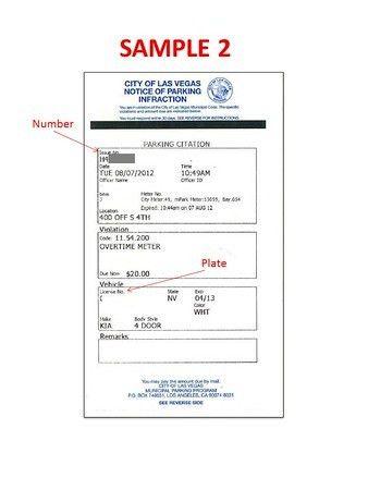 Ticket Samples - City of Las Vegas