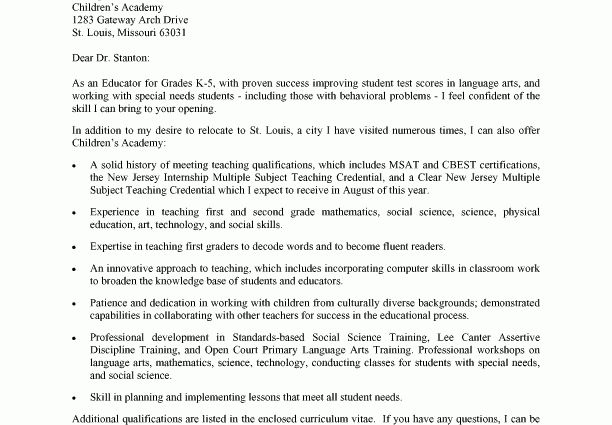 Sample Cover Letter for Teaching Position in Elementary School ...