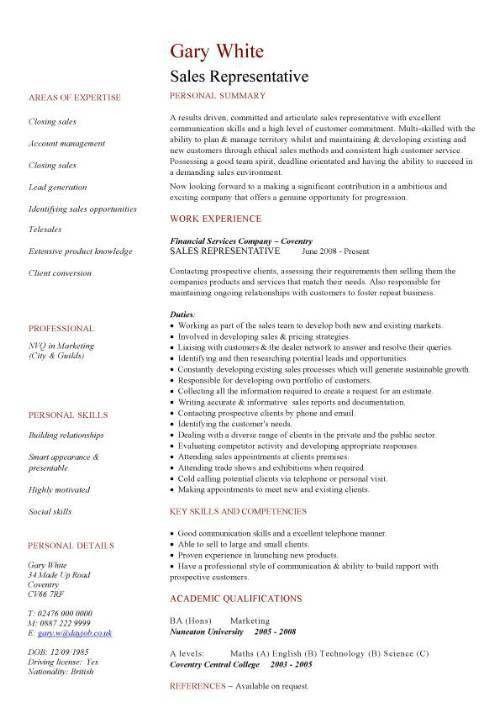 Resume Sample Sales Representative 17567   Plgsa.org