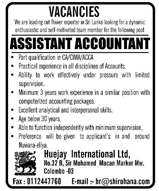 Assistant Accountant,Huejay International Ltd,latest vacancies in ...