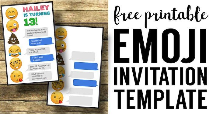Emoji Birthday Invitations Free Printable Template - Paper Trail ...