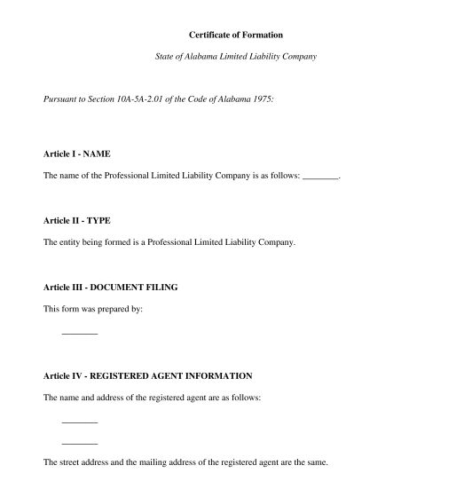 Articles of Organization - Template - Word & PDF