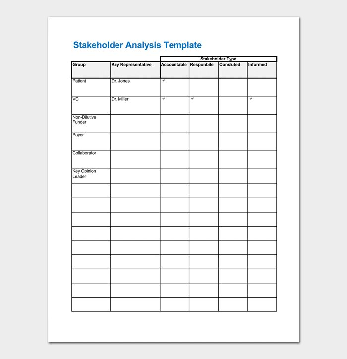 Charming Stakeholder Analysis Template Word Gallery  Resume Ideas