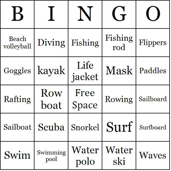Water Sports Bingo Cards