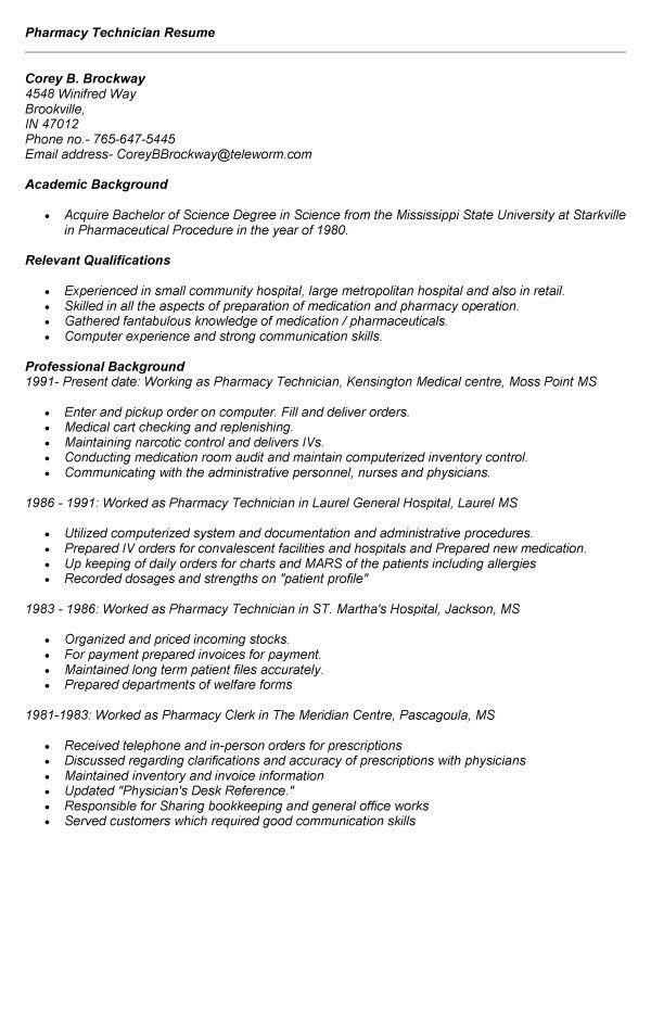 Resume Examples For Pharmacy Technician. Pharmacy Technician ...