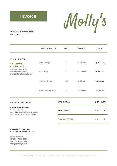 Red and Navy Invoice Letterhead - Templates by Canva