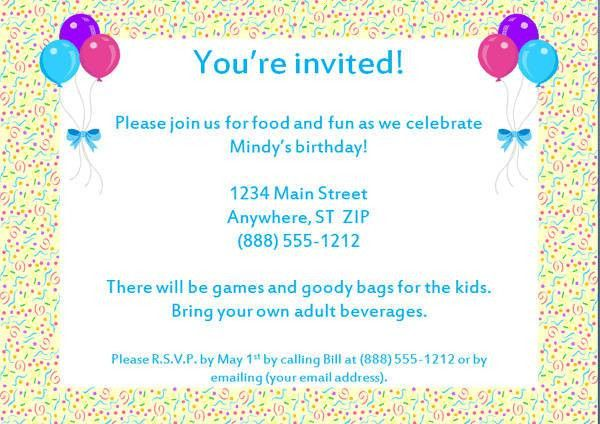 example of birthday party invitation letter : Cogimbo.us