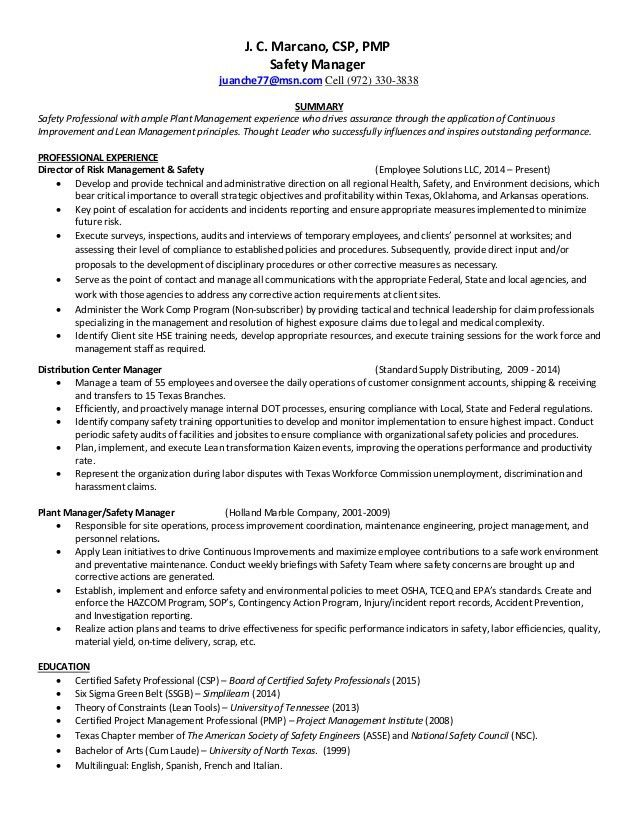Certified Safety Engineer Sample Resume - Resume Templates