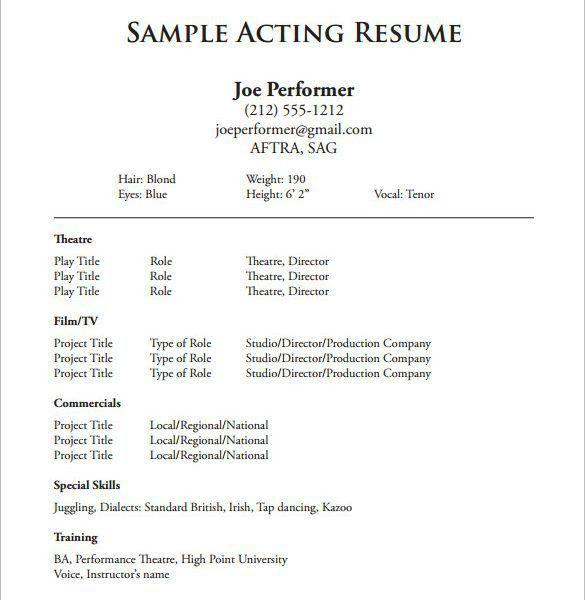 Download Acting Resume Template | haadyaooverbayresort.com