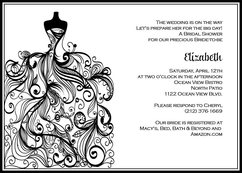 FREE PDF Download. Wedding Dress – Bridal Shower Invitation ...