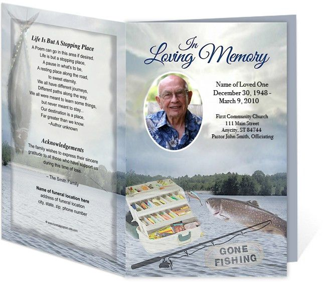 Angler FIshing Sports Theme Single Fold Funeral Programs Templates ...
