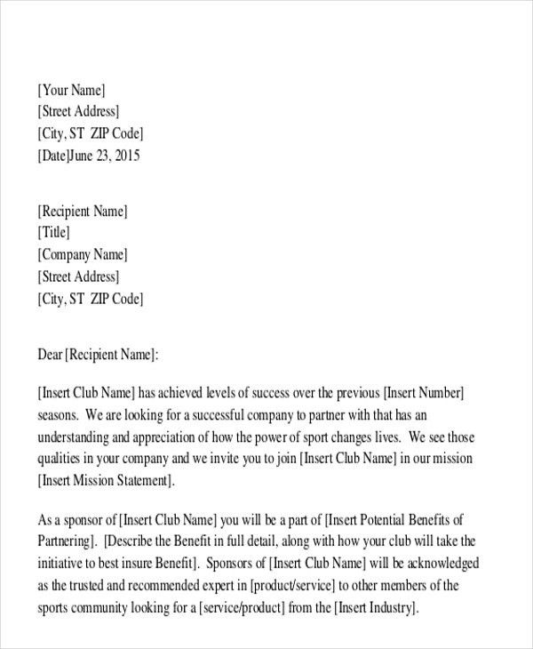 Sample Sponsorship Proposal Letter - 9+ Examples in Word, PDF