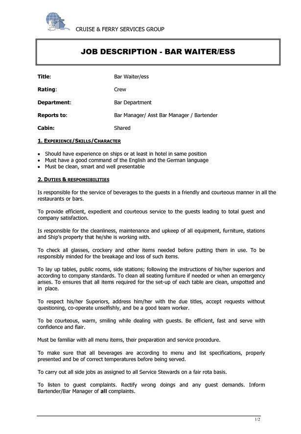 description of waitress duties for resume sample cv for