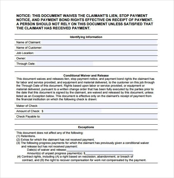 Sample Conditional Release Form - 14+ Download Free Documents in ...