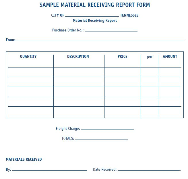 Material Receiving Report Form (Sample) | MTAS MORe