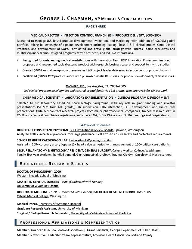 VP Medical Affairs Sample Resume - Executive resume writer for R&D ...