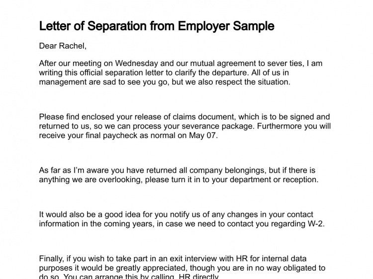 Separation Of Employment Letter  Employment Termination Letter