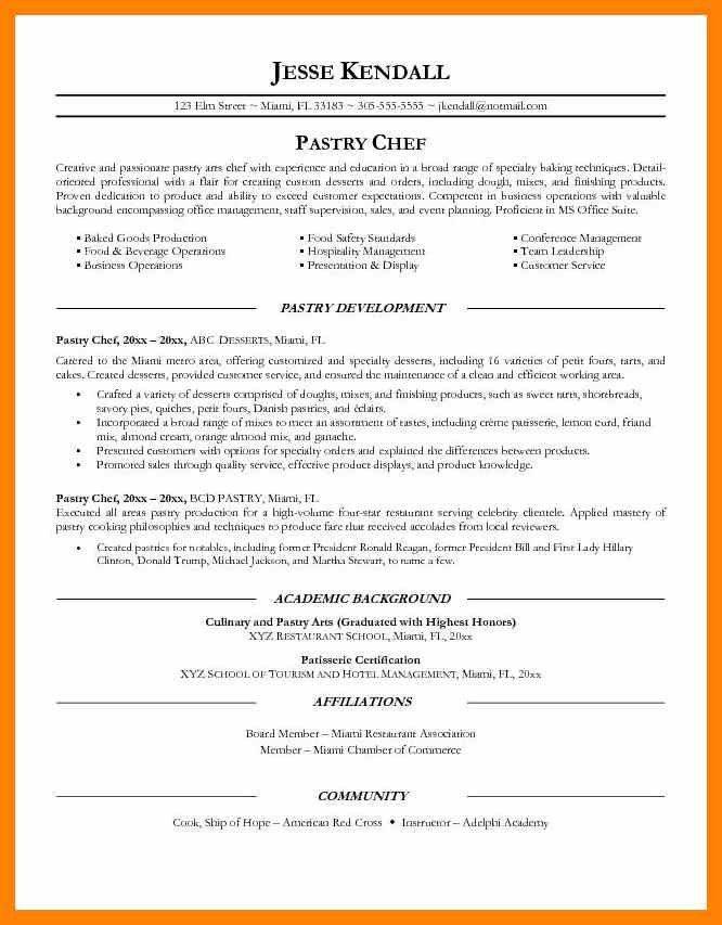Pastry Chef Resume Pdf - Contegri.com