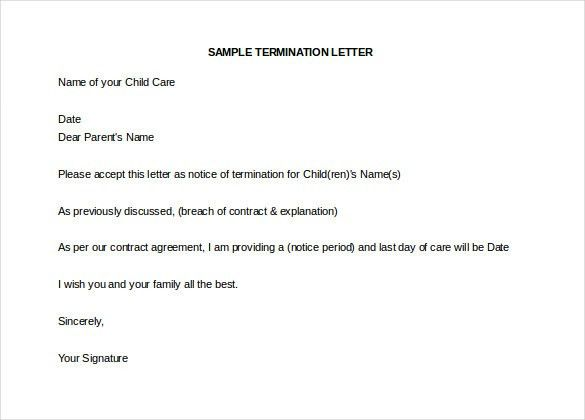 Termination Letter Description. Free Household Employee ...