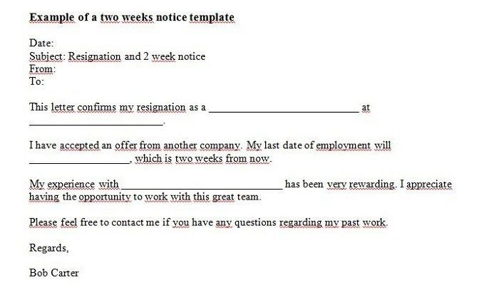 Resignation Letter Template Two Weeks Notice   Professional ...