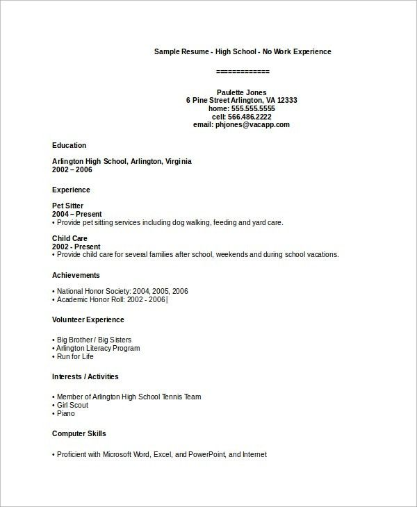 Sample High School Resume - 7+ Examples in PDF
