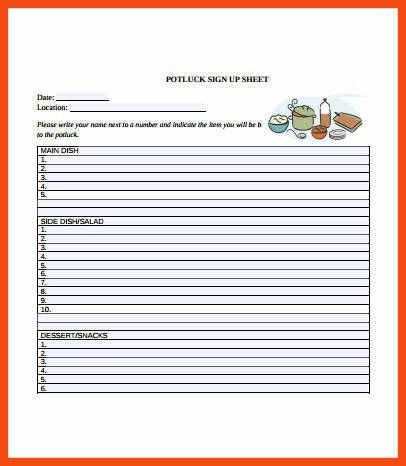 potluck signup sheet template word