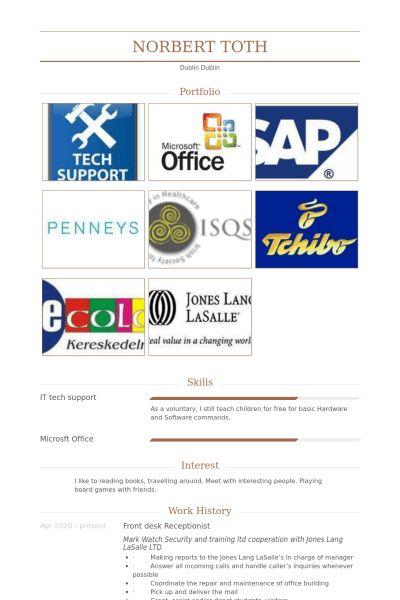 Front Desk Receptionist Resume samples - VisualCV resume samples ...