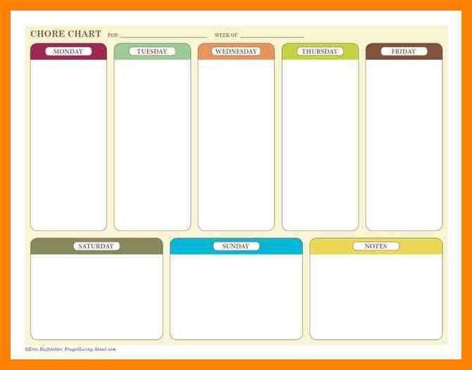 4+ weekly chore charts templates | daily log sheet
