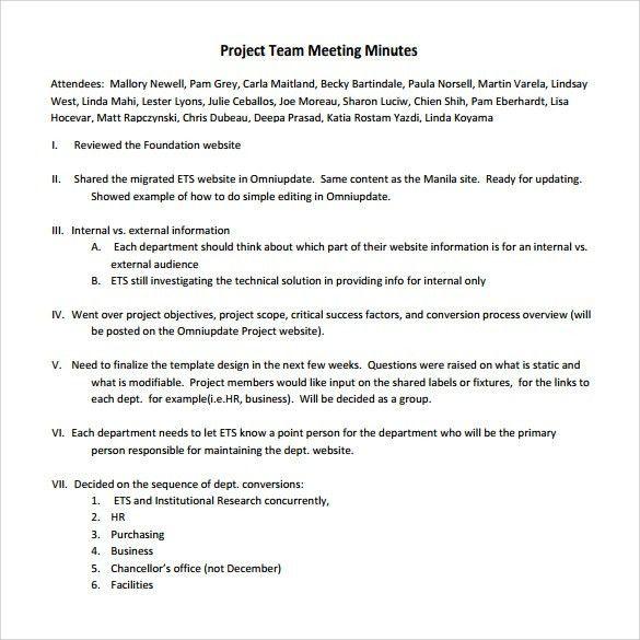 simple meeting minutes