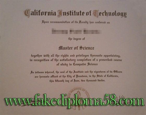 California Institute of Technology CIT fake degree certificate ...